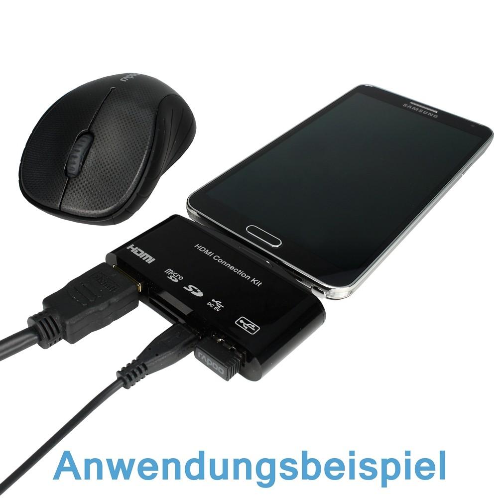 mhl hdmi otg usb micro sd sd kartenslot adapter f r. Black Bedroom Furniture Sets. Home Design Ideas