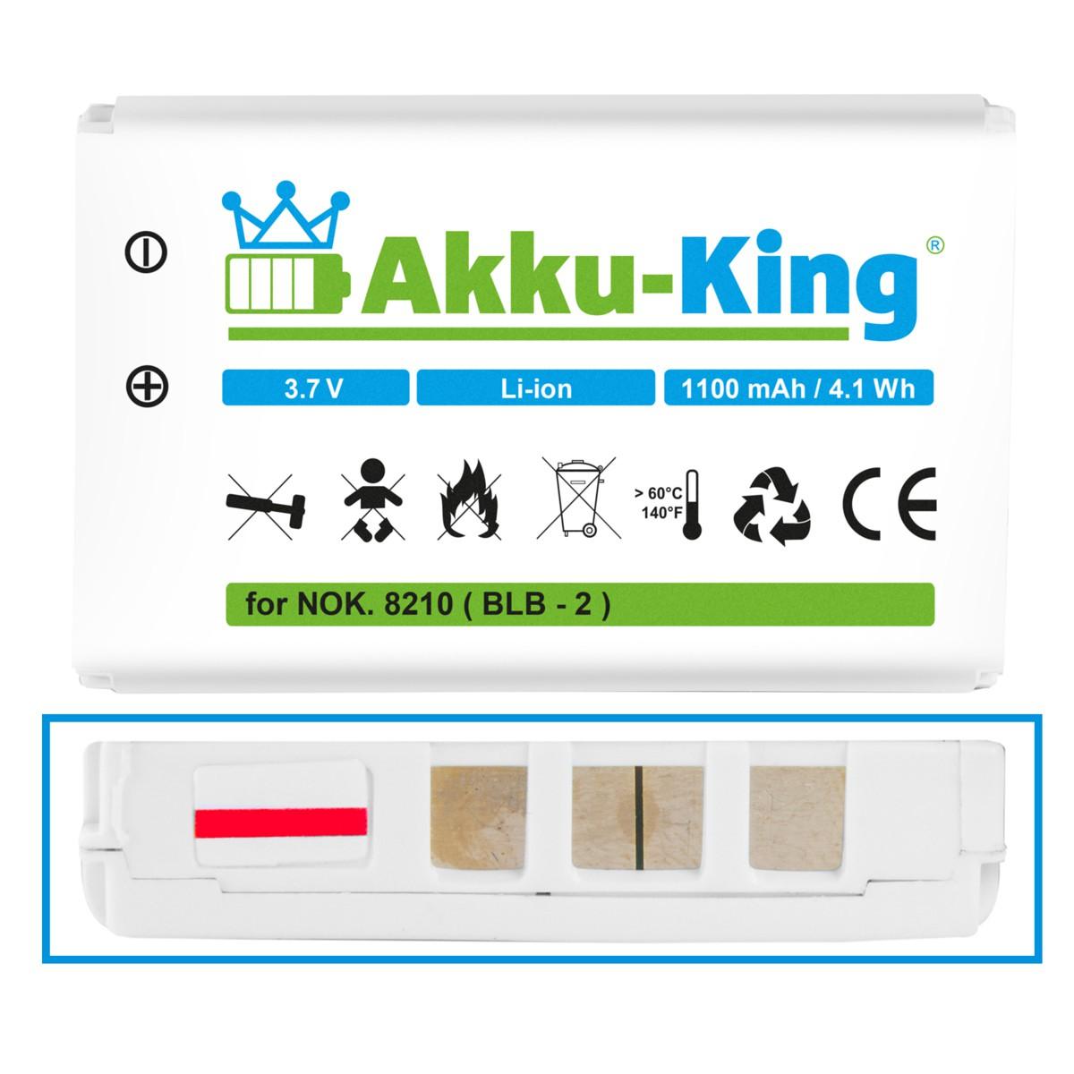 Akku für Nokia 8210, 3610, 5210, 6510, 7650, 8250, 8310, 8850, 8890, 8910i, Swiss DV 310, 320, 330 - ersetzt BLB-2, 300-203712001 - Li-Ion 1100mAh