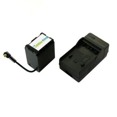 Akku Li-Ion kompatibel zu JVC BN-VG121 - BN-VG121SU BN-VG121U - inkl. Ladegerät mit Output-Kabel runder Stecker - 3000 mAh