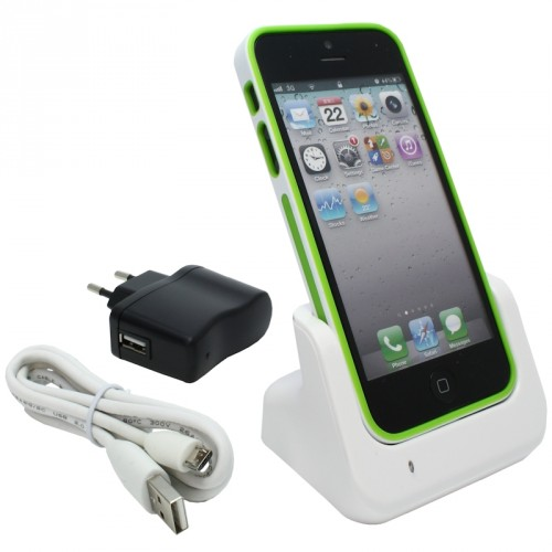 usb dockingstation ladestation f r apple iphone 5 wei. Black Bedroom Furniture Sets. Home Design Ideas